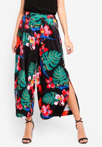 Angeleye black Tropical Print Trousers D2121AAE9417A0GS_1