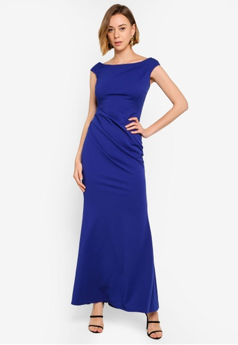 ef0ca8f99e4b Goddiva blue Fishtail Maxi Dress With Pleating Detail 39F2CAA32FC68BGS_1