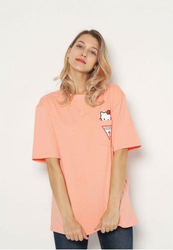 1cba0bc27c6 Guess pink Guess x Hello Kitty Triangle Logo Pocket Tee CC5C2AAE7D63E2GS 1