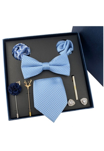 Kings Collection blue Bow Tie, Pocket Square, Brooch, Tie Clip 8 Pieces Gift Set (KCBT2038) 97767AC87613A0GS_1
