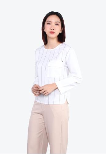 SODA white Raglan Sleeve Striped Pocket Blouse - O/White 420E6AAD12C823GS_1
