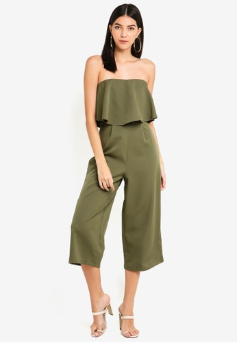 MISSGUIDED green Crepe Double Layer Culotte Jumpsuit C206EAA8907EA7GS_1