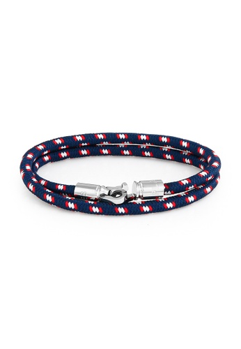 PLAIN SUPPLIES white and red and silver and navy Snake Locker Navy Rope Bracelet 7F727AC612DD4EGS_1