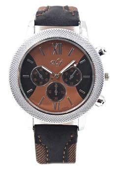 OLJ Aljur Men's Leather Fabric Wrist Watch A2512