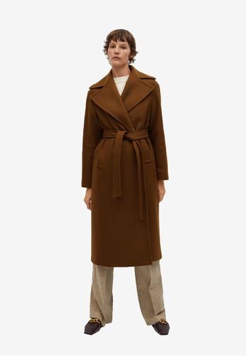 Mango brown Sashed Wool Coat DB6B9AA292B990GS_1