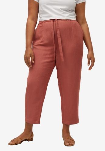 Violeta by MANGO pink Plus Size Cropped Linen-Blend Trousers E533DAACA7665DGS_1