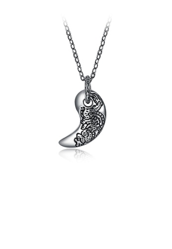 Glamorousky silver 925 Sterling Silver Retro Fashion Personality Crescent Pendant with Necklace 81E2BAC5D9A61DGS_1