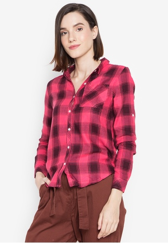 BNY red Ladies Checkered Long Sleeves Shirt 8209FAA50996D7GS_1