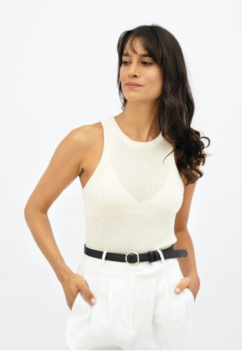 1 PEOPLE white Sao Paulo GRU - Racer Knitted Top - Porcelain F1606AA455D80AGS_1