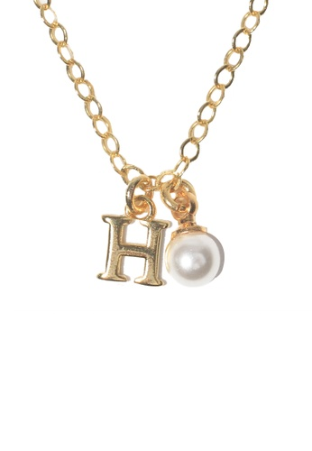 PSYNDROME gold Personalised Initial Letter Alphabet with Pearl Necklace - H FE620AC3570653GS_1