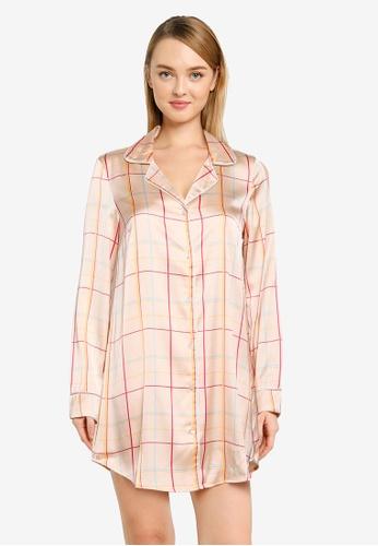 Vero Moda brown and beige Helena Nightwear Dress 6FCECAA4989FA3GS_1