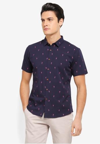 JAXON navy Flamingo Motif Short Sleeves Shirt 601A2AAC905016GS_1