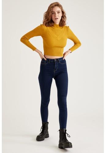 DeFacto 藍色 High Waist Super Skinny Jeans 92874AA03B33B1GS_1