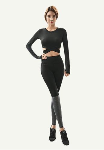 B-Code black ZYG5025-Lady Quick Drying Running Fitness Yoga Sports Leggings-Black DB8EAAA5D1196EGS_1