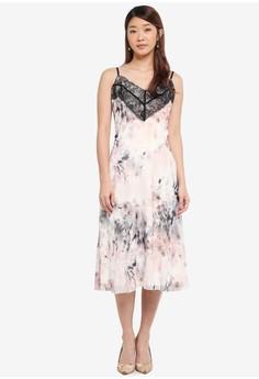 細肩帶蕾絲印花洋裝