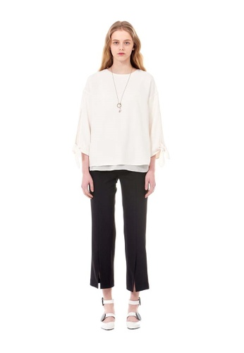 G-CUT black Trousers With Front Slits 53E9AAAA4EB578GS_1