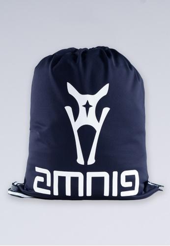 AMNIG white and navy AMNIG Drawstring Bag (Navy/White) 179A5ACD205C2FGS_1