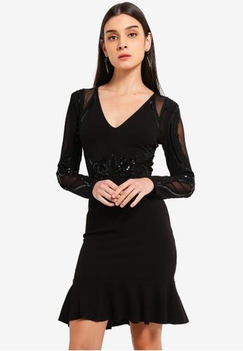 Lipsy black Petite Sequin Artwork Dress 74A1EAA95C13E6GS_1