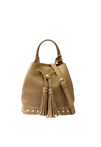 GreyPlus brown AUBRIE Bucket Stud Shoulder Bag 3DDBFAC1D620D4GS_1