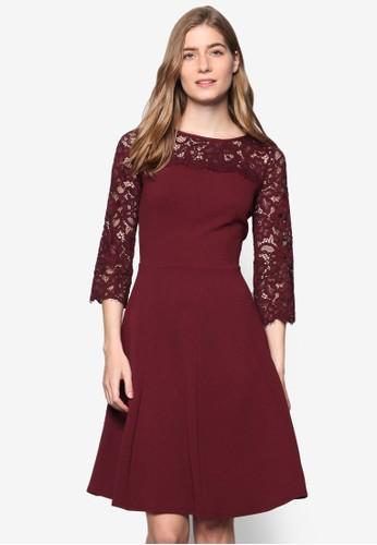 蕾絲七分袖拼肩洋裝, 服飾,esprit hk 洋裝