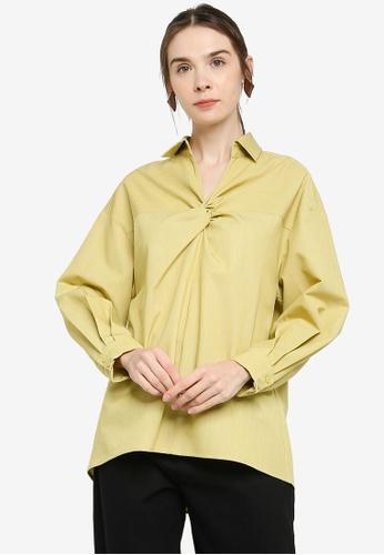 ZALIA BASICS green Cotton Collar Oversize Shirt A7D21AAC7289AAGS_1