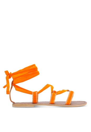 TOPSHOP orange Hacienda Velvet Ribbon Sandals TO412SH0RCG8MY_1