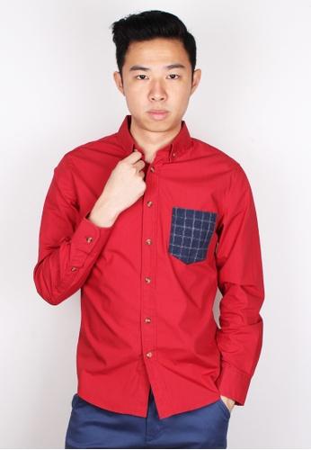 Moley red Checked Pocket Long Sleeve Shirt MO329AA13KIKSG_1