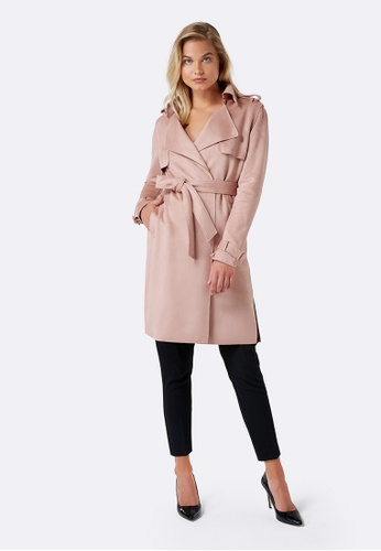 Forever New pink Danielle Suedette Trench 5FE7FAACA1B22EGS_1
