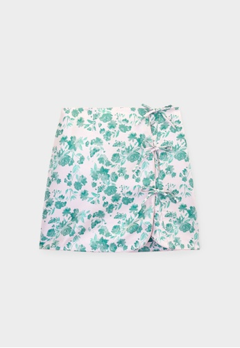 Pomelo pink Bow Detail Flower Print Skirt - Pink 76F7CAAE602C21GS_1