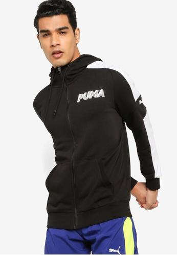 PUMA black Modern Sports Full-Zip Men's Hoodie 4A69BAAB0A3294GS_1