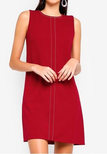 ZALORA red Stitch Detail Dress CD915AADE9E084GS_1