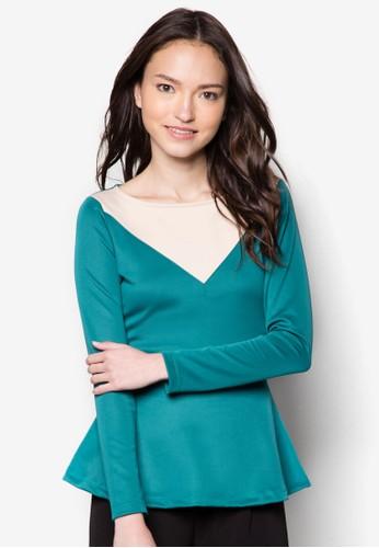 Anastasia 荷葉腰飾長袖上衣, 服飾, zalora taiwan 時尚購物網上衣