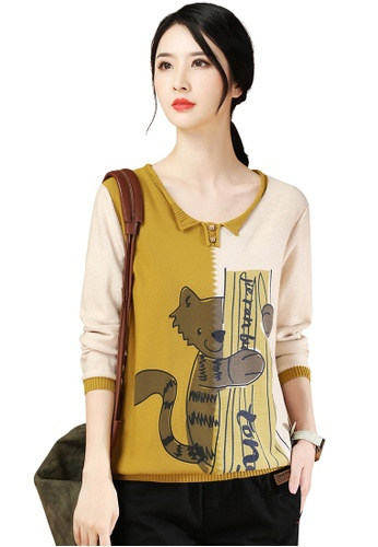 A-IN GIRLS yellow and beige Fashion Cartoon Printed Sweater C3A6DAAA7FC259GS_1