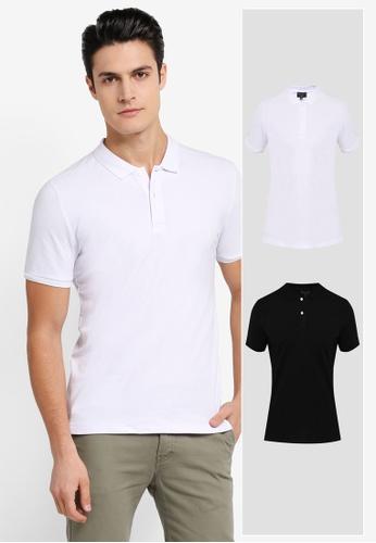 ZALORA black and white 2 Pack Pique Button Down Polo Shirt ZA819AA0T27RMY_1
