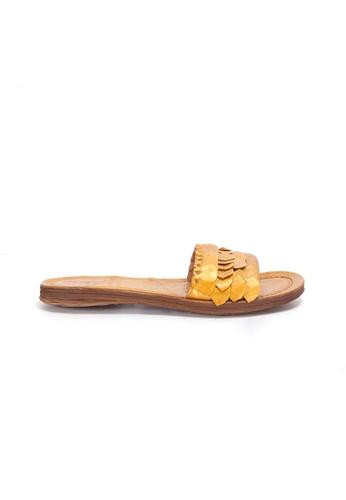Shu Talk gold A.S.98 Bi colored Washed Leather Slip On Sandals 9DFA2SH621BAAFGS_1