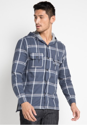 Jimmy Martin navy Pattern jacket with Hoodie E70CAAABD13BF4GS_1