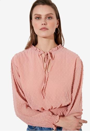 Trendyol pink Shirred Waist Tie Detail Blouse E49BDAA726E353GS_1