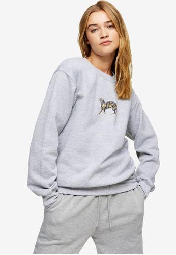 TOPSHOP grey Walking Tiger Sweatshirt 09DE0AA3E5E236GS_1