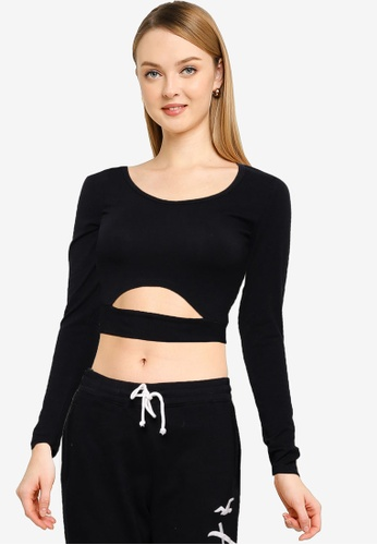 Hollister black Long Sleeve Crop Cut Out Top 7638FAAD347BCAGS_1
