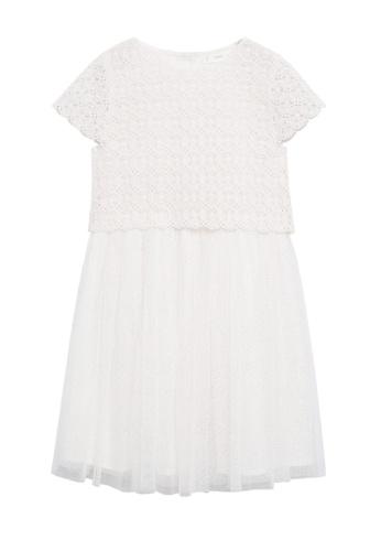 MANGO KIDS white Tulle Guipure Dress 8F3B9KACB9E8E8GS_1