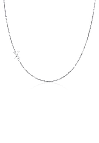 Moody Mood silver .925 Sterling Silver Sideway Letter X Necklace (18k white gold plating) E96A4AC622B6F5GS_1