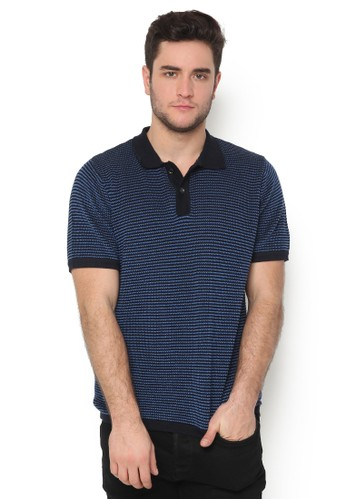 Knitwork blue and navy KNITWORK Navy Wavering Polo Shirt B5D69AA07EF8DCGS_1