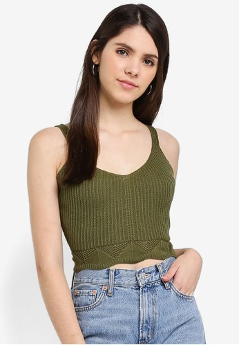 Cotton On green Pointelle Cami Top A41FDAAD0C17FDGS_1