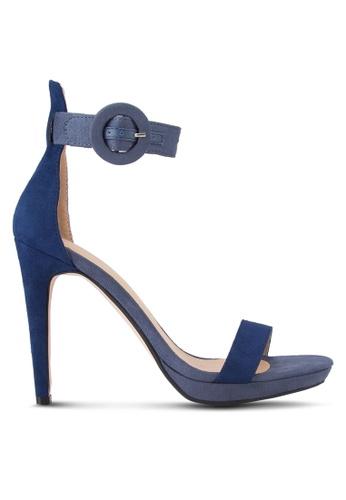 ZALORA grey and navy Portofino Heeled Sandals 4DCD8SHA1BC76CGS_1