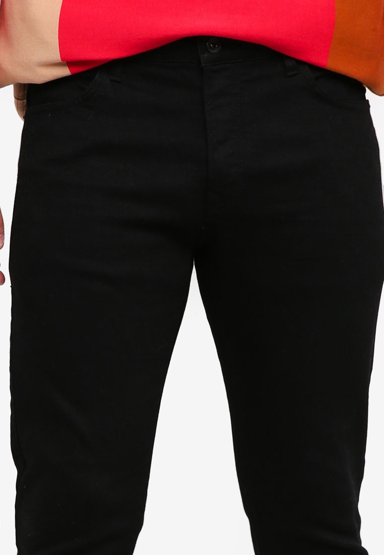 Coated Slim Fit Stretch Oil Topman Jeans Black Black 4T1qUv