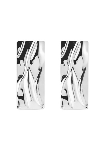 River Island silver Silver Colour Rectangle Statement Earrings E6A95AC5B24212GS_1