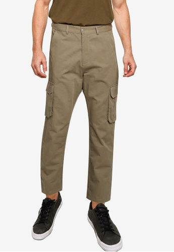 ZALORA BASICS green Twill Cargo Pants 28ECEAA516A0A5GS_1