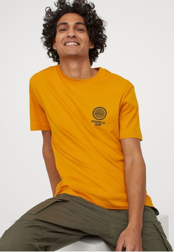H&M yellow and multi Round-Neck T-Shirt Regular Fit A1AF1AAD603461GS_1