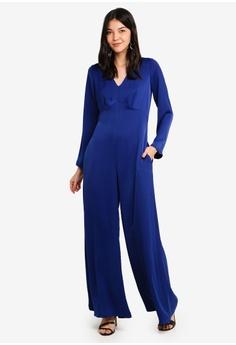 0008b0953d18 ... NOW RM 70.90 Sizes 6 8 12 · CLOSET blue V-Neck Empire Waist Jumpsuit  3C0A4AA64306ECGS 1