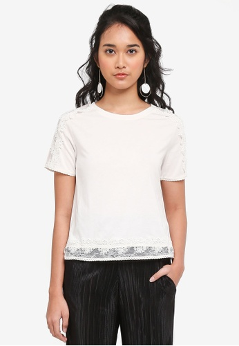 TOPSHOP white Lace Trim T-Shirt 7FCA9AAAE5EA67GS_1